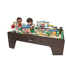 pTRU1-10555957reg. This train set sits on a table ...  sc 1 st  RedRocket & Wooden Train Set for Kids - RedRocket