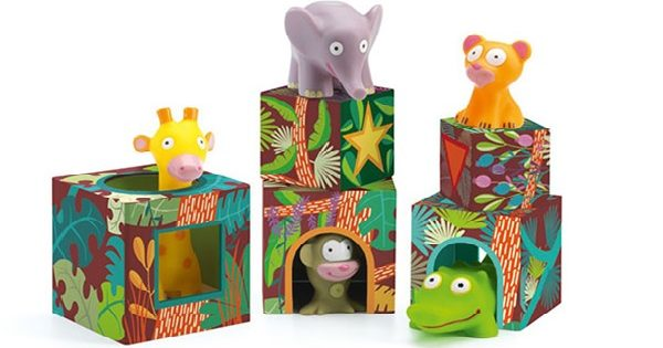 Djeco Nesting Block Tower with Animals